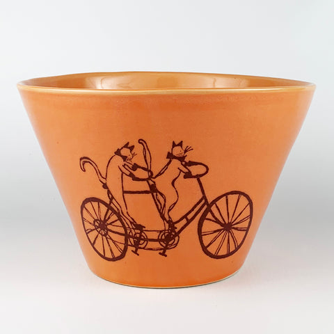Large Bowl - Illustrated Cats Riding a Bike Design
