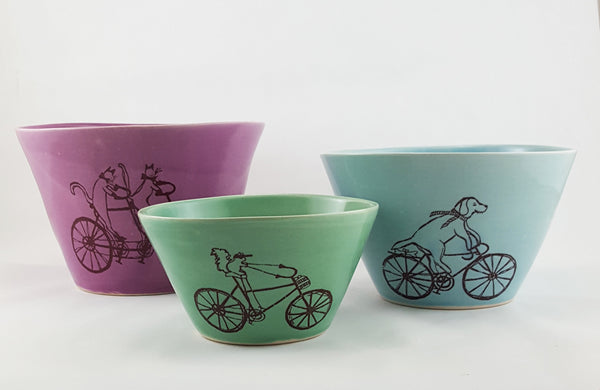 Large Bowl - Illustrated Dog Riding a Bike Design