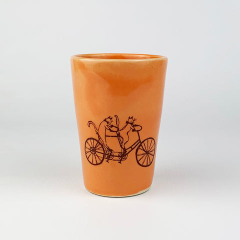 Small Cup - Illustrated Cats Riding a Bike Design