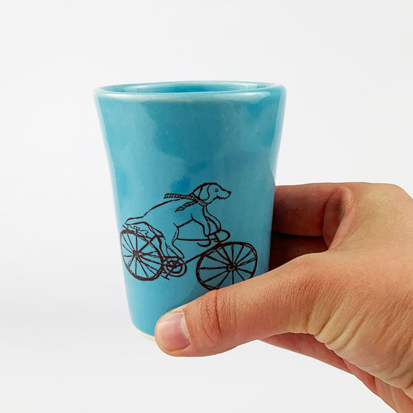 Small Cup - Illustrated Dog Riding a Bike Design