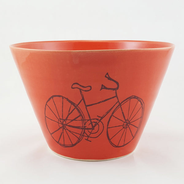 Large Ceramic Porcelain Bowl | Bike | Bicycle |  Bella Joy Pottery | Handmade Pottery Bowl with Illustration