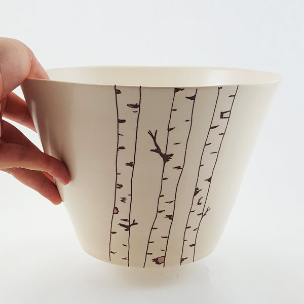 Large Ceramic Bowl | Illustrated Birch Tree | Bella Joy Pottery
