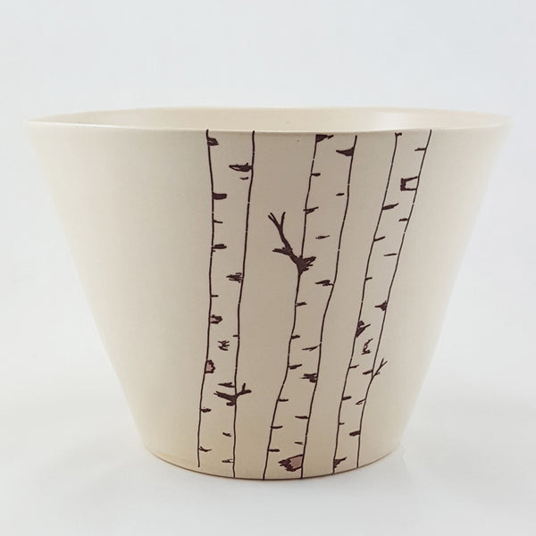 Large Ceramic Bowl | Birch Tree Illustration | Bella Joy Pottery