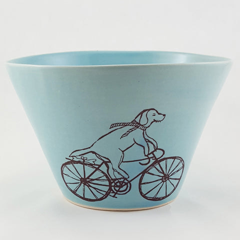 Large Porcelain Bowl | Illustrated Dog Riding a Bike Design | Bella Joy Pottery | Handmade pottery bowl | Buy handmade pottery bowl