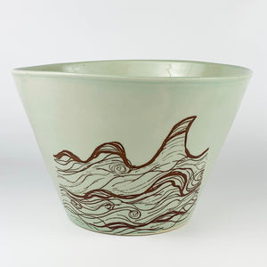 Large Bowl - Illustrated Wave Design