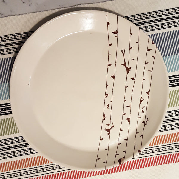 Large Plate - Illustrated Birch Tree Design