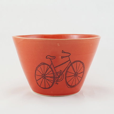 Medium Bowl | Illustrated Bicycle Design | Bella Joy Pottery