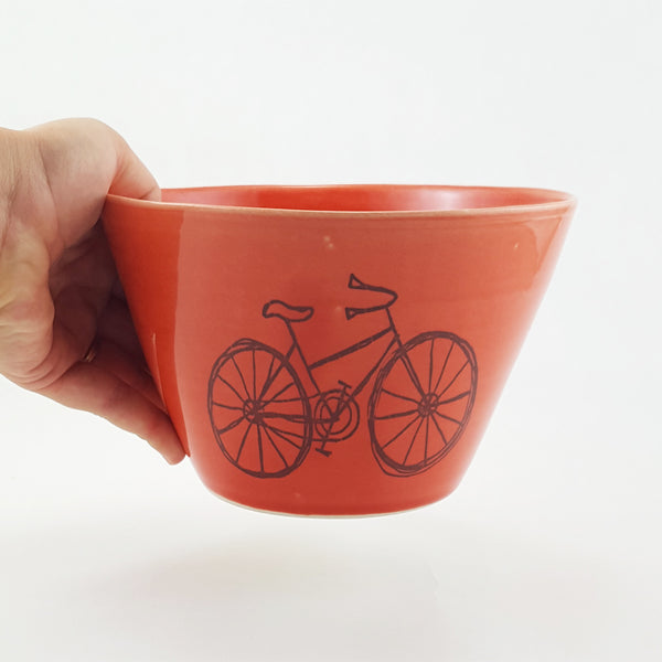 Ceramic Bowl | Illustrated Cruiser Bike | Bella Joy Pottery