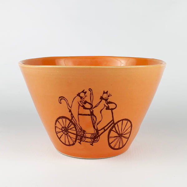 Medium Bowl - Illustrated Cats Riding a Bike