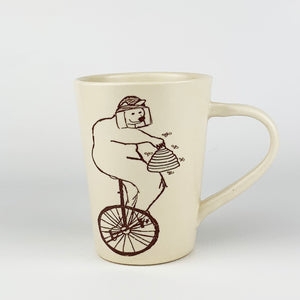 Mug - Illustrated Bear Riding a Bike Design