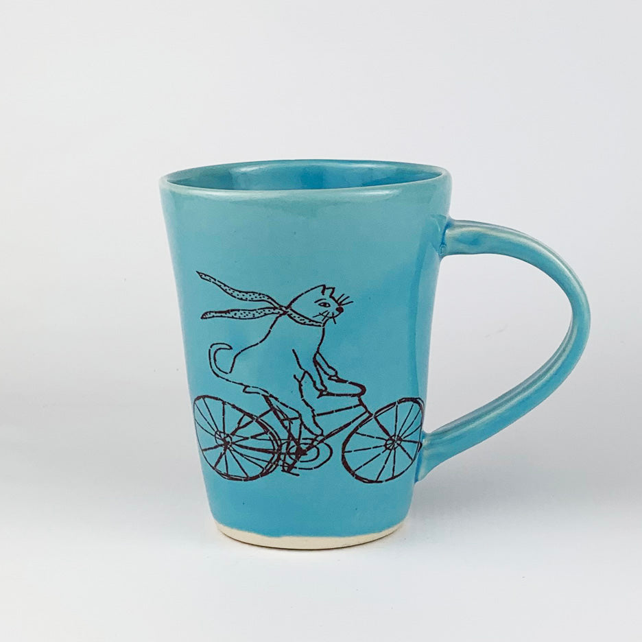 Mug - Illustrated Cat Riding a Bike Design