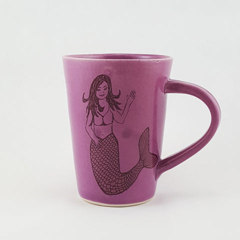 Handmade Ceramic Mug Illustrated Mermaid | Bella Joy Pottery