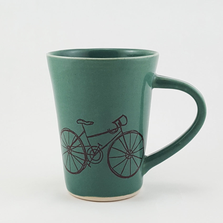 Handmade Ceramic Mug Illustrated Road Bike | Bella Joy Pottery
