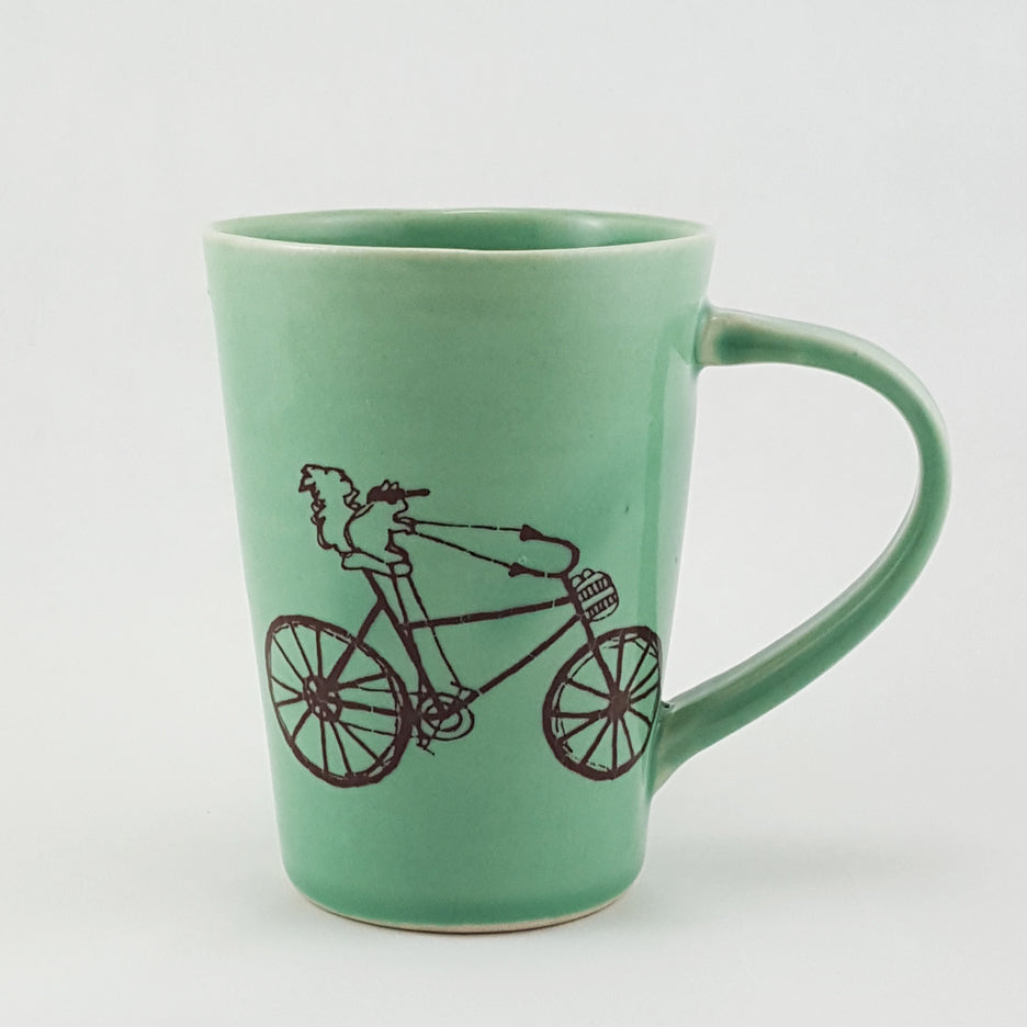 Ceramic Mug | Illustrated Squirrel Riding a Bike | Bella Joy Pottery
