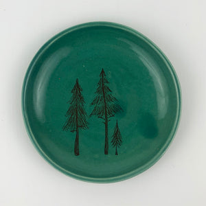 Ring Dish-Illustrated Pine Tree Design