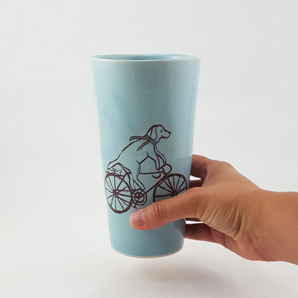 Pint Glass | Dog Riding a Bike Illustration | Bella Joy Pottery