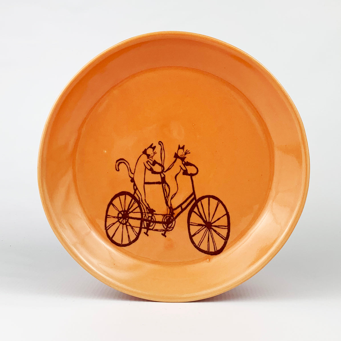 Small Plate - Illustrated Cat Riding a Bike