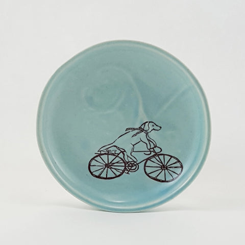 Ring Dish | Dog Riding a Bike Illustration | Bella Joy Pottery