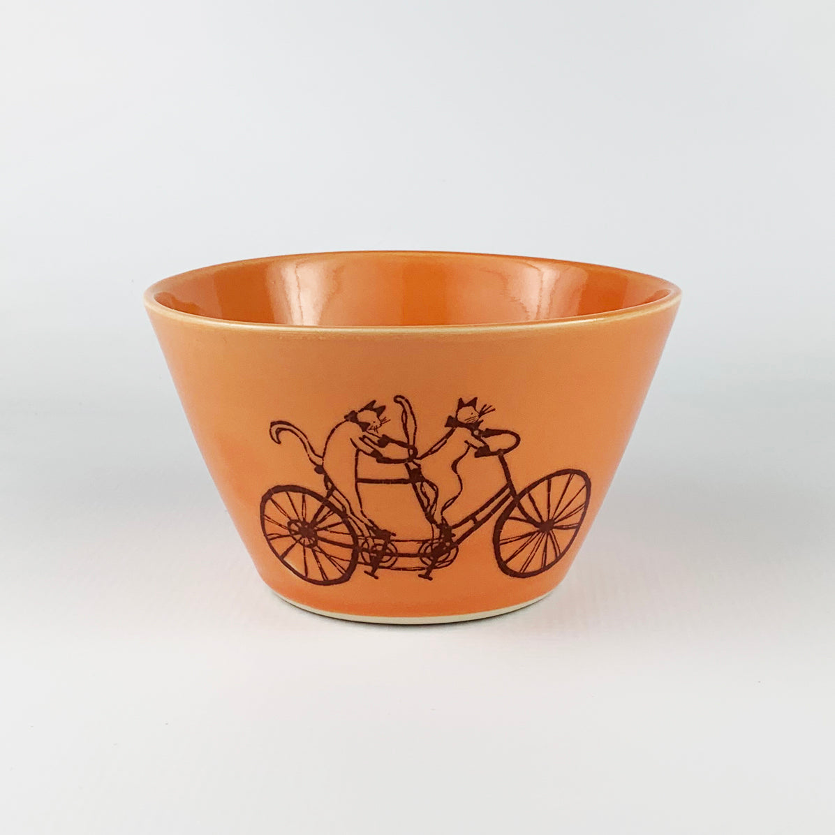 Small Bowl - Illustrated Cat Riding a Bike Design