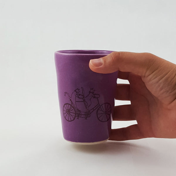 Small Cup-Cat Riding a Bike - Bella Joy Pottery