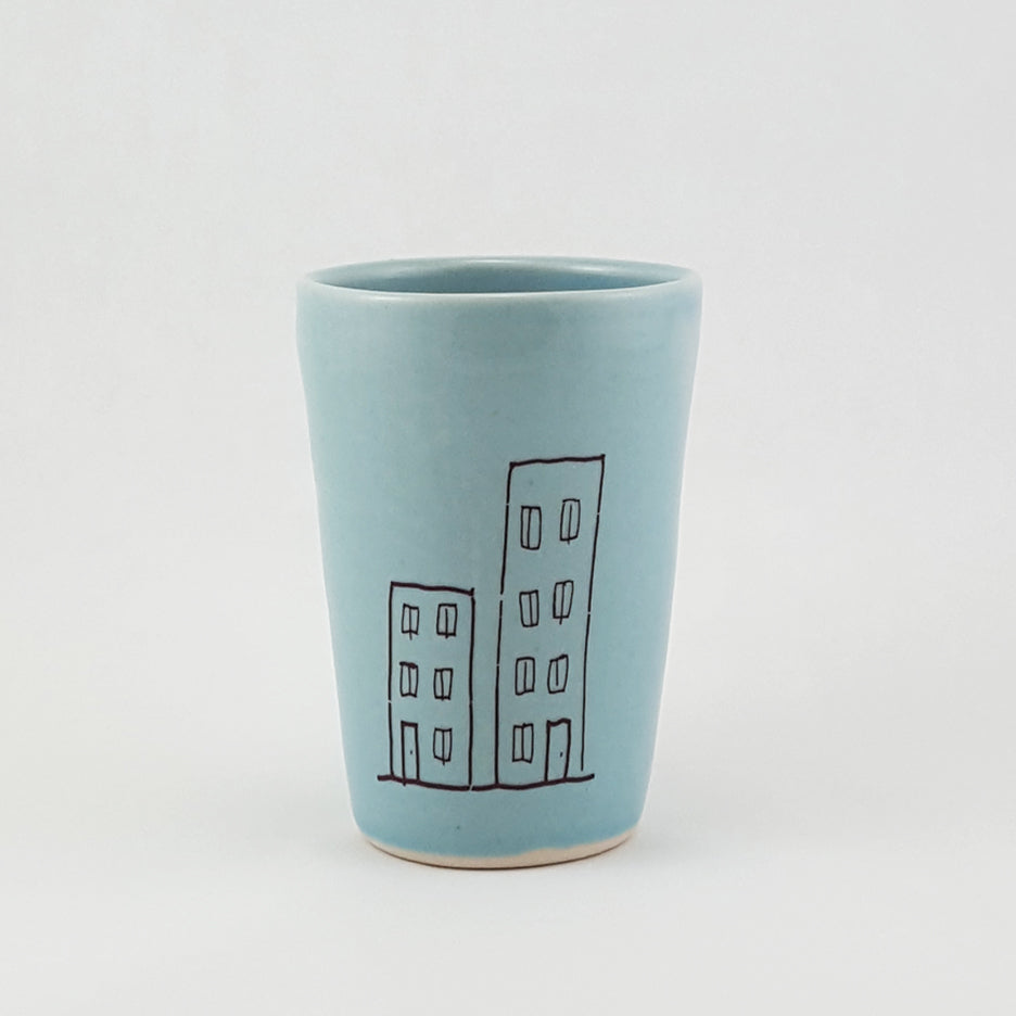 Small Ceramic Cup | City Mouse Country Mouse Illustration | Bella Joy Pottery