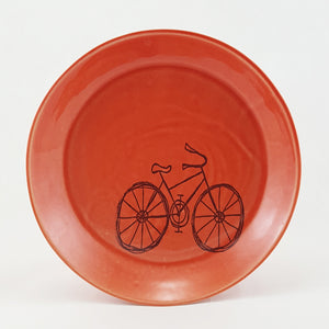 Ceramic Plate | Illustrated Bike | Bella Joy Pottery
