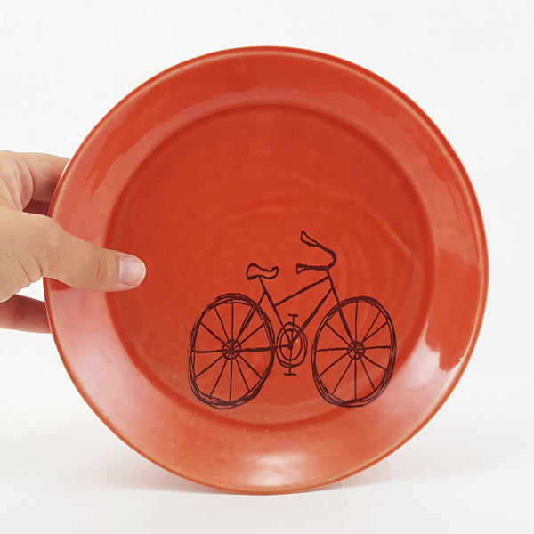 Small Porcelain Plate | Illustrated Cruiser Bicycle Design | Bella Joy Pottery