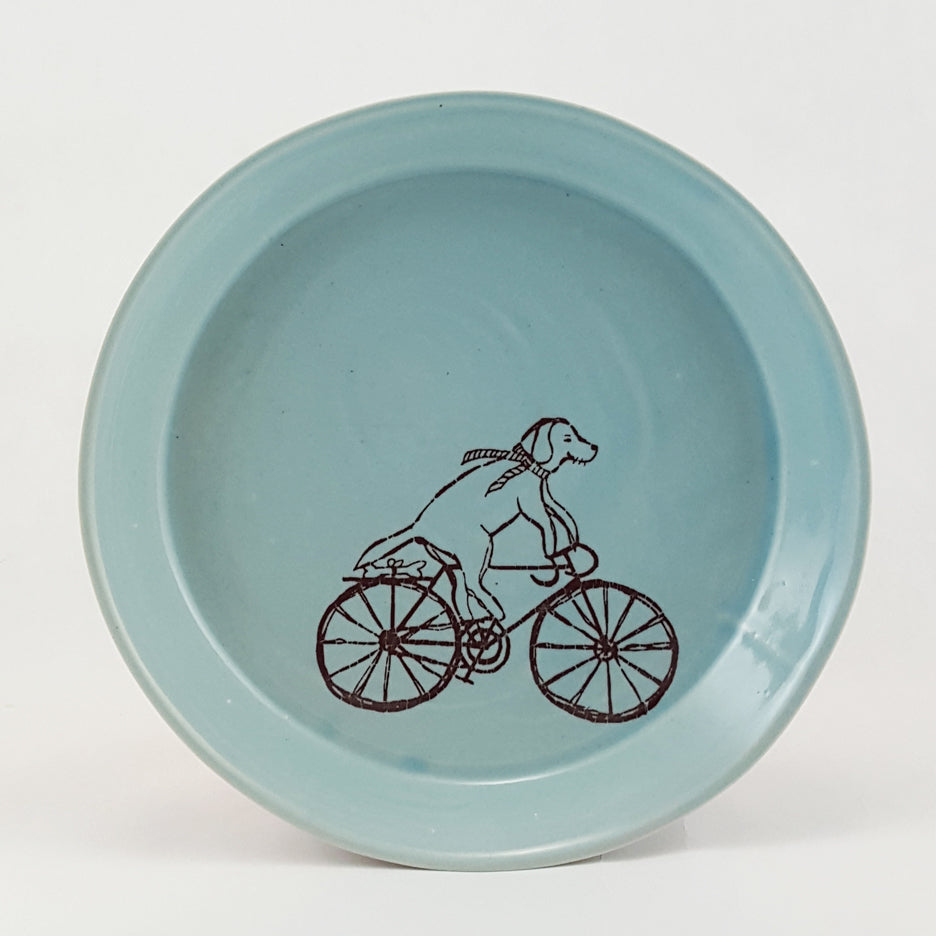 Small Ceramic Porcelain Plate | Dog Riding a Bike | Dog riding a bicycle|  Bella Joy Pottery | Handmade Plate with Illustration