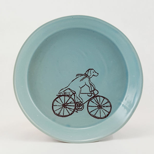 Ceramic Plate | Illustrated Dog Riding a Bike | Bella Joy Pottery