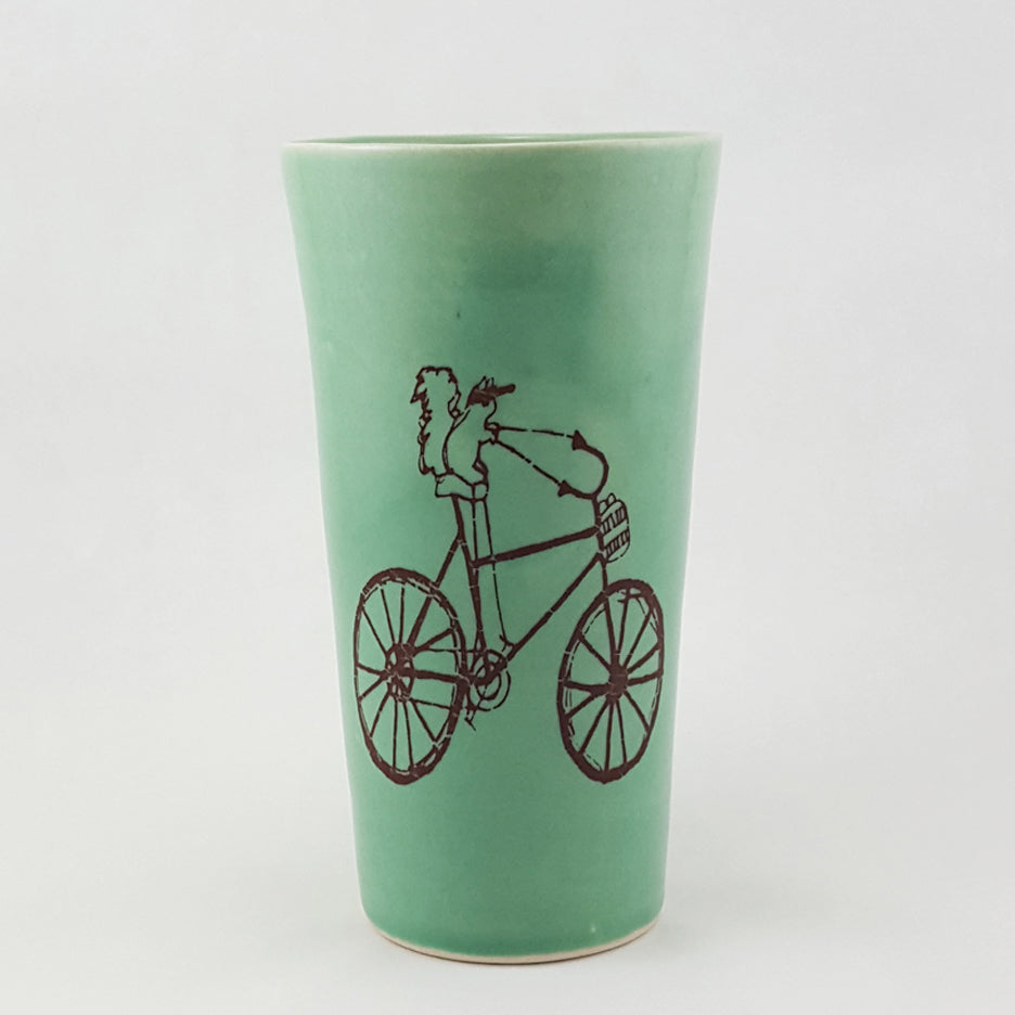 Ceramic Pint | Illustrated Squirrel Riding a Bike | Bella Joy Pottery