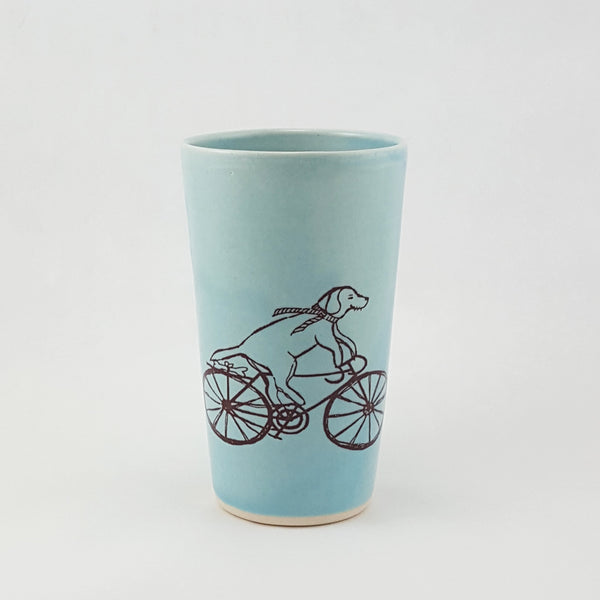 Handmade Ceramic Cup | Dog Riding a Bike Illustration | Bella Joy Pottery