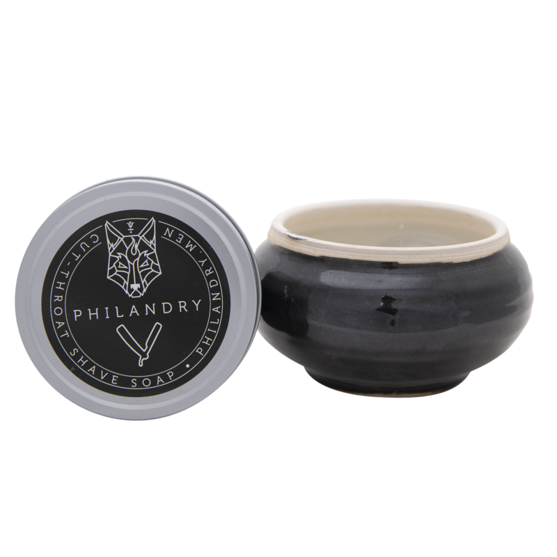 Philandry Porcelain Shave Bowl with Cut-Throat Shave Soap