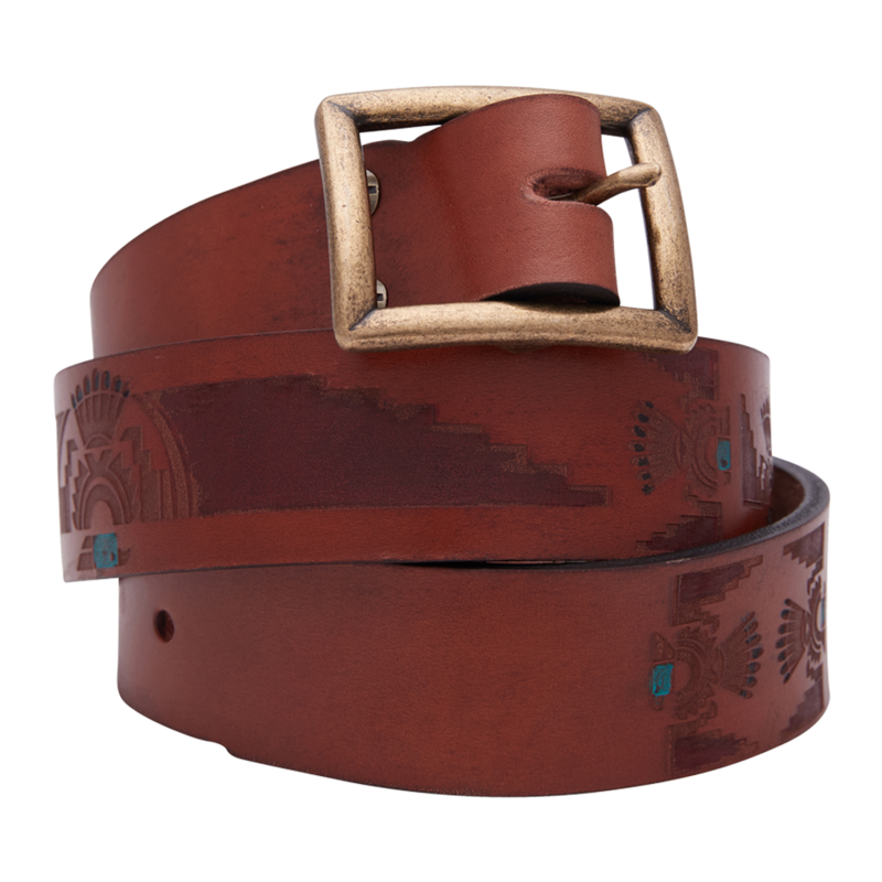 ThunderBird Hand Painted Brown Leather Belt