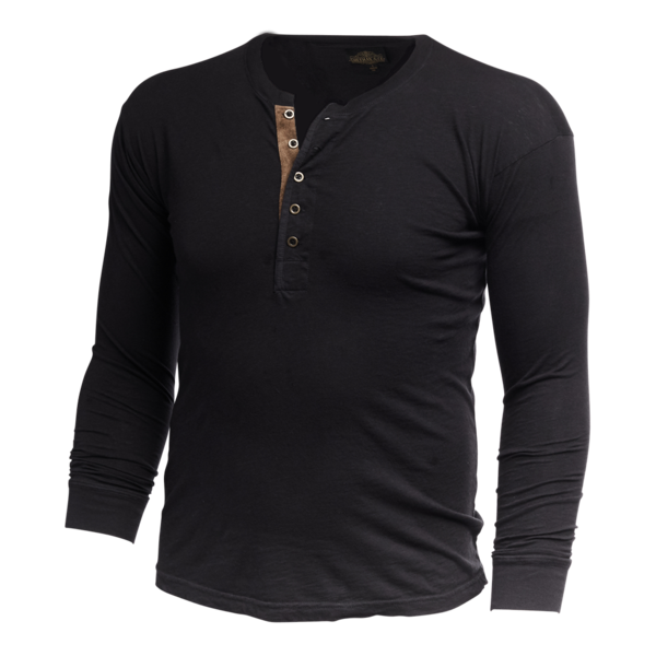 Vintage Revival Leather Placket Long Sleeve Henley Shirt