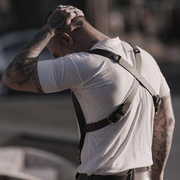 Leather Shackle Back Suspenders
