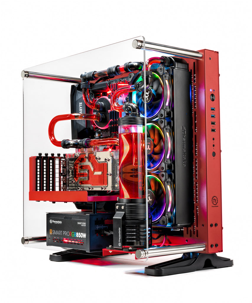 SkyTech Supremacy X Gaming Computer PC Desktop - i7-7700K, 500GB Samsung 960 Evo SSD, GTX 1080 Ti 11GB (GPU WATER COOL), 360mm Water Cool, 2TB, 32GB DDR4 (Hard Tube Work May Look Slightly Different, Please Contact Sales for Tube Work Design)