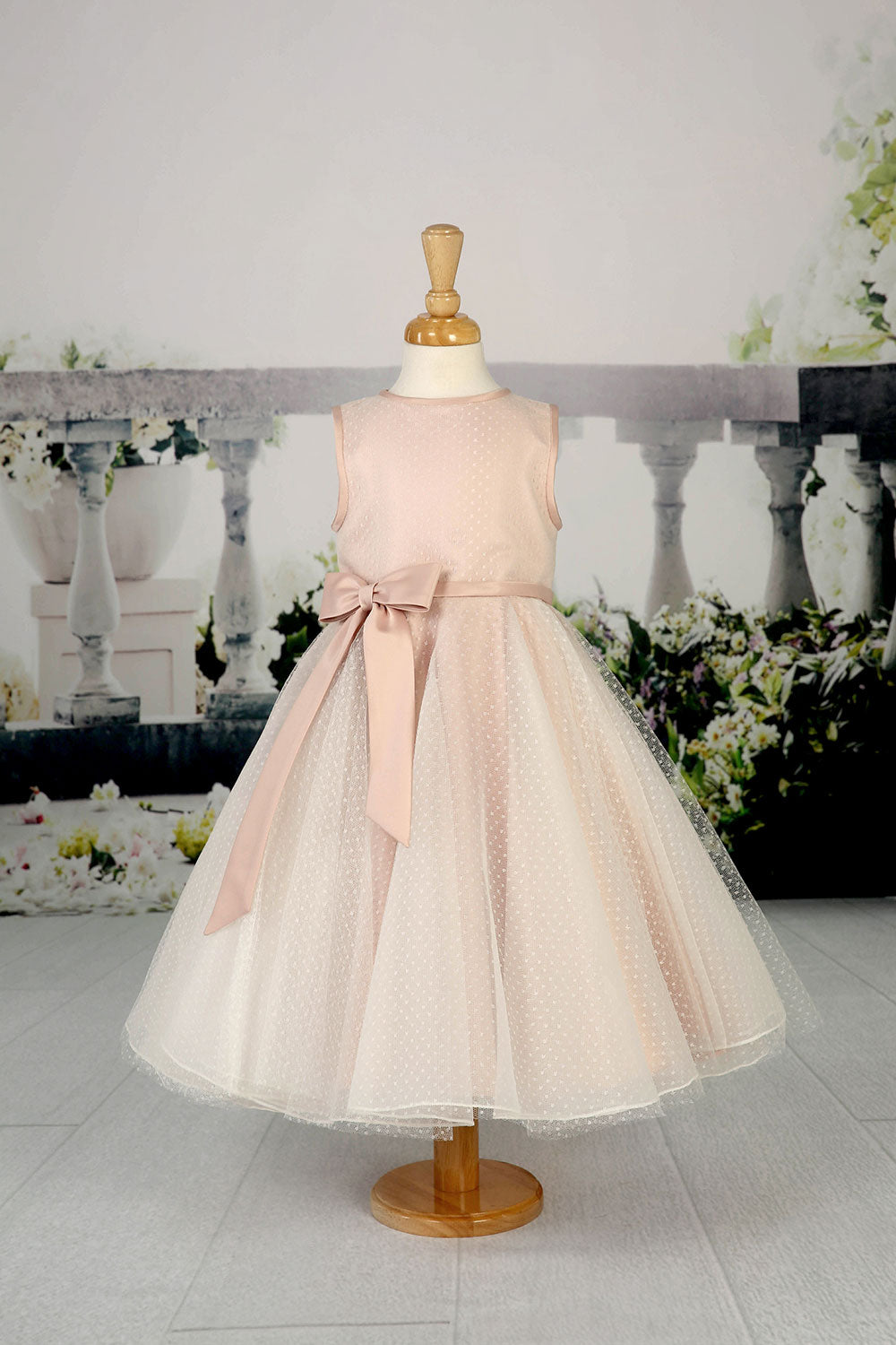 Flower girl dress with a beautiful ivory spotted tulle skirt from the Emma Bridals collection