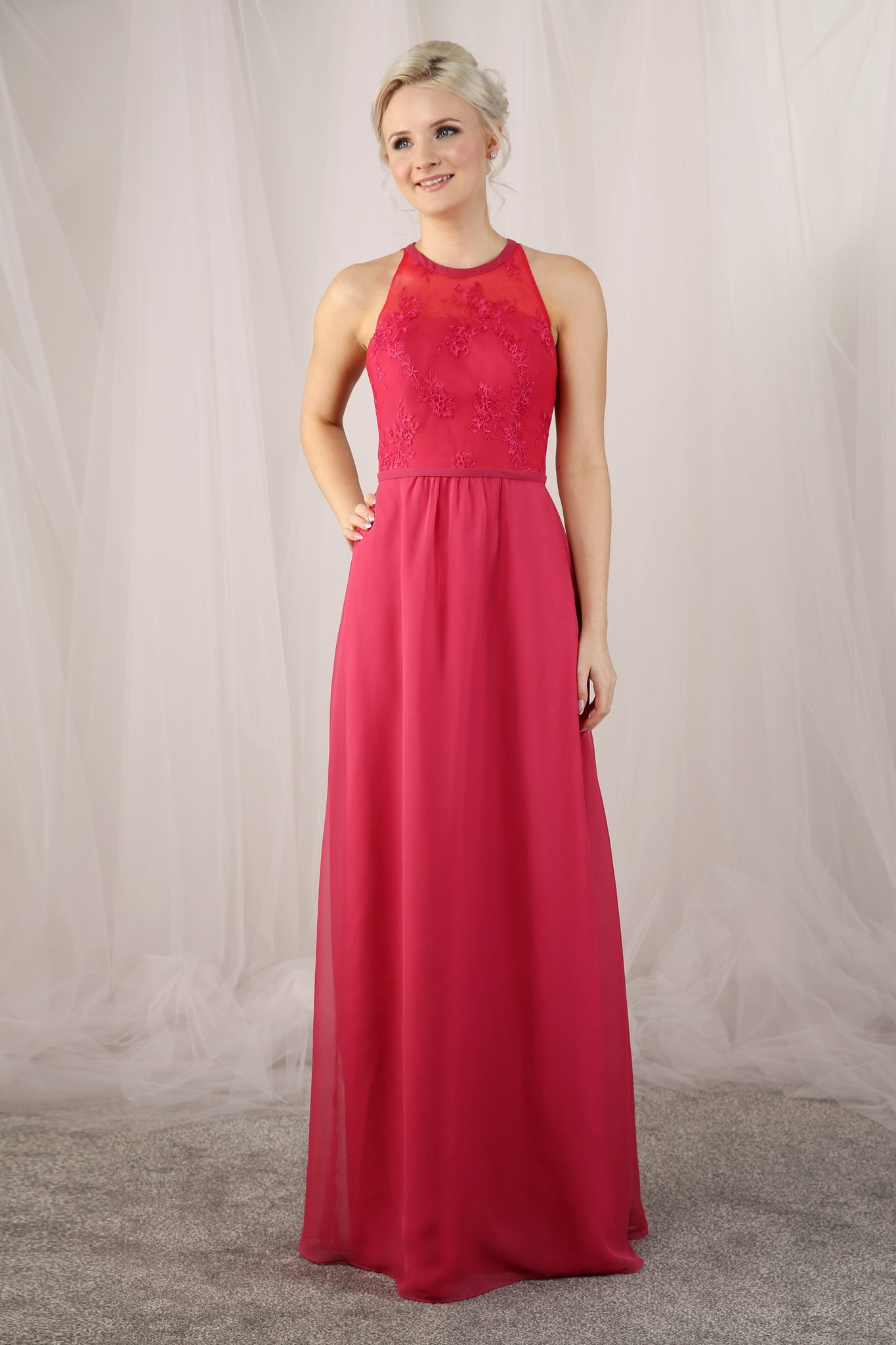 Full length chiffon bridesmaid gown from the Emma Bridals collection