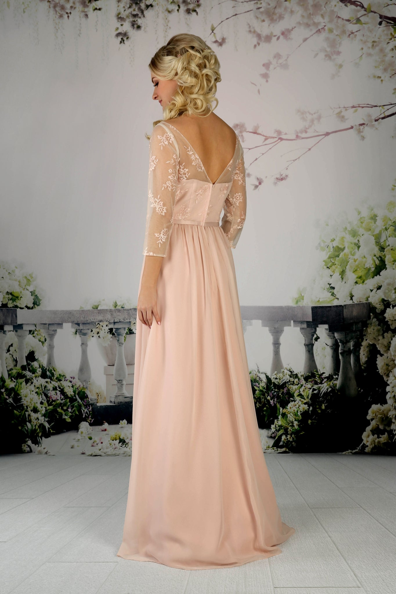 Pretty dress with a gathered chiffon skirt and embroidered lace bodice from the Emma Bridals collection