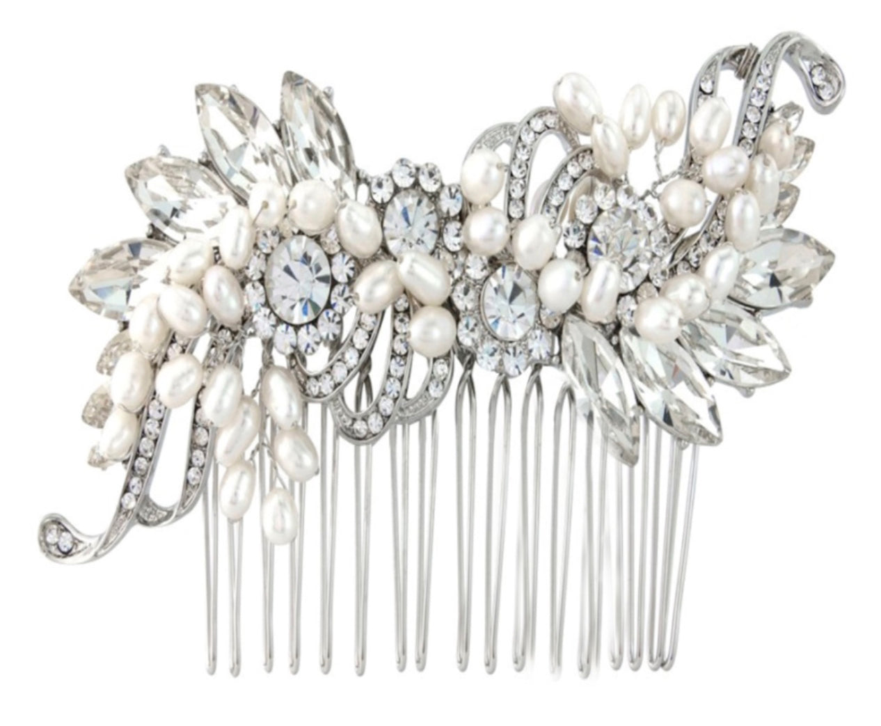 Hair comb - beautiful ivory pearls crystals and diamanté's