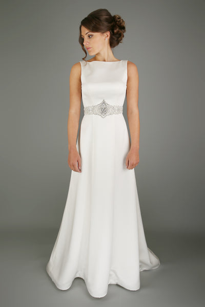 Draping gown made with the softest satin from the Emma Bridals collection