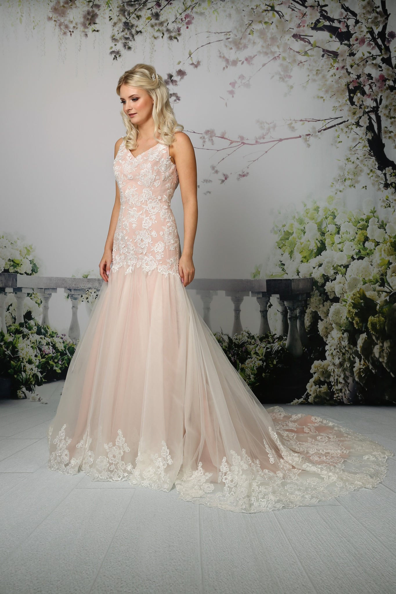 Fitted chiffon and tulle gown from the Emma Bridals collection