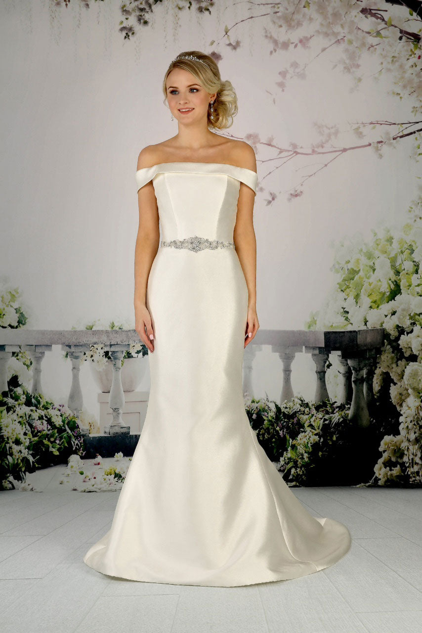 Fitted off-the-shoulder mikado gown from the Emma Bridals collection