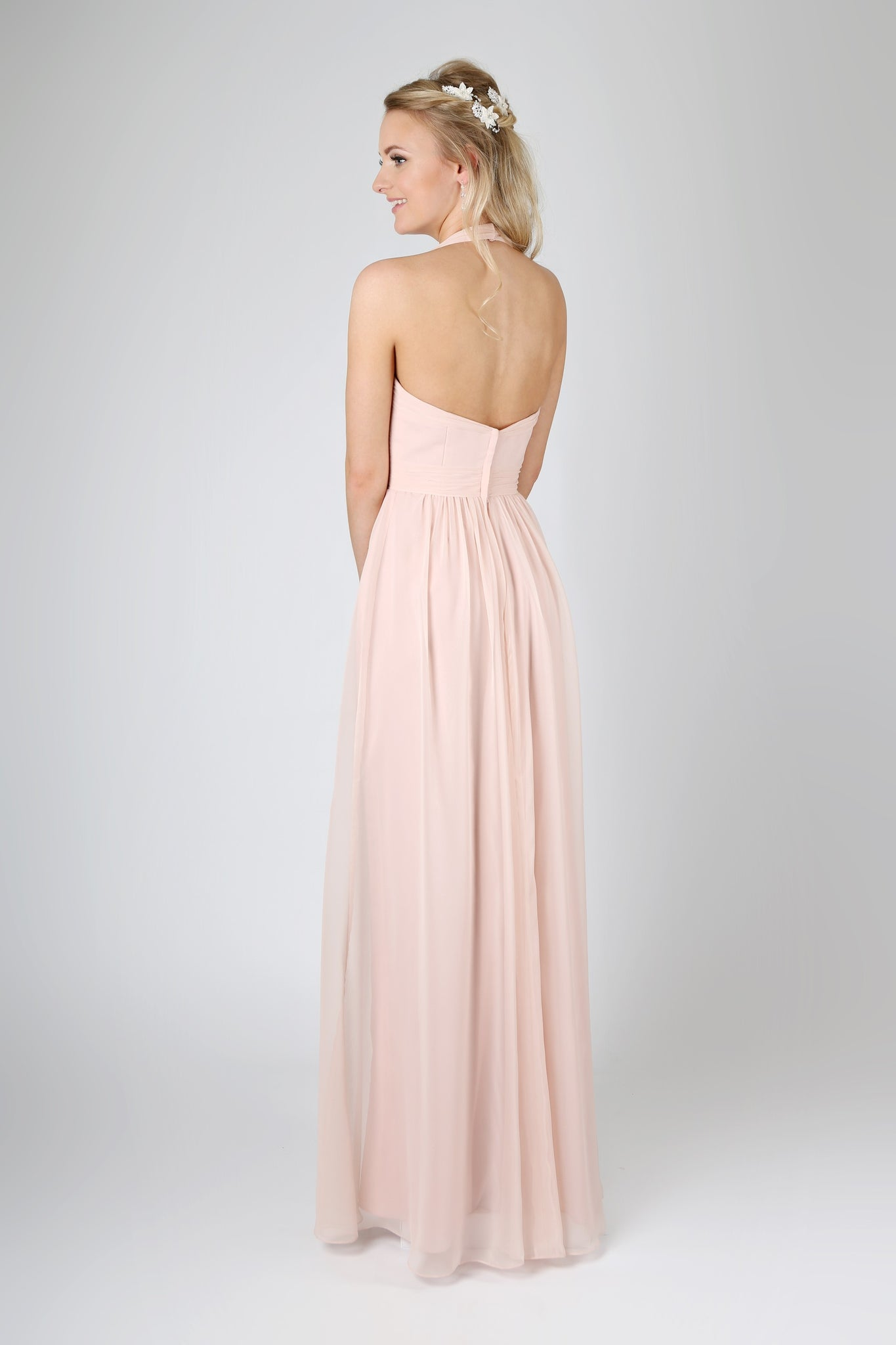 Halter-neck dress with ruched bodice, waistband and gathered skirt from the Emma Bridals collection