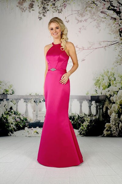 Fitted satin bridesmaid dress with nipped in waistband from the Emma Bridals collection