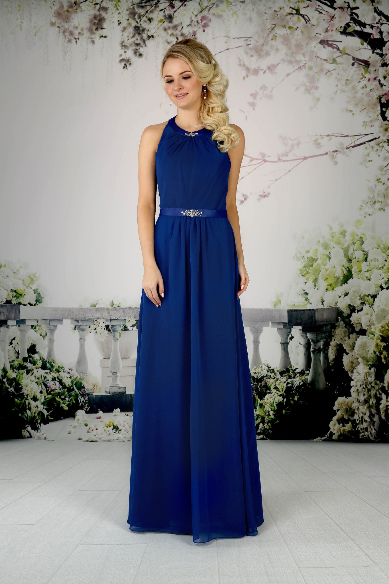 Chiffon halterneck gown from the Emma Bridals collection
