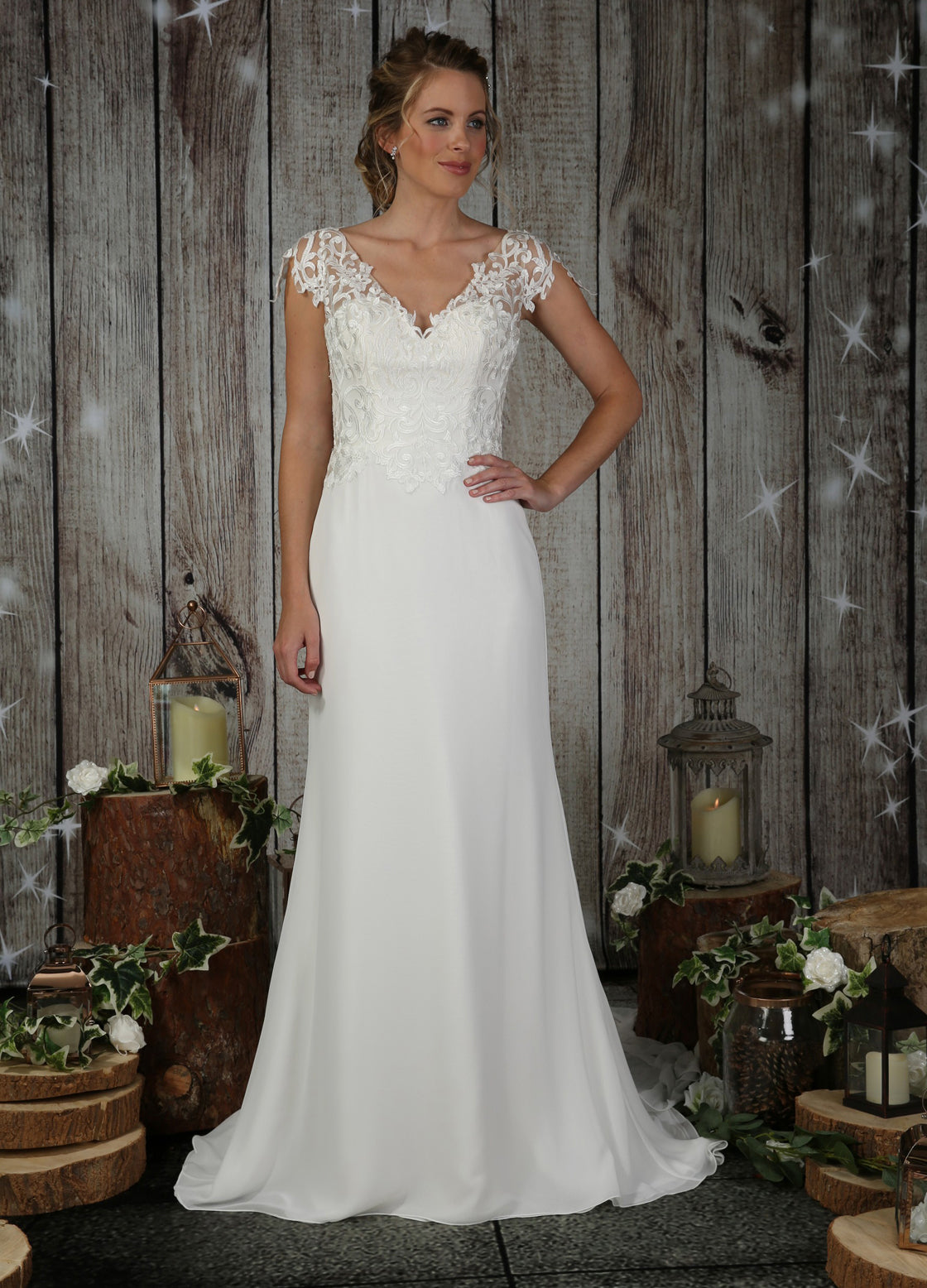 Coral soft lace bodice wedding dress by Richard Designs