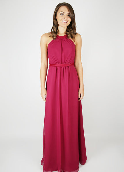 Floor-length chiffon bridesmaid dress with round satin neckline