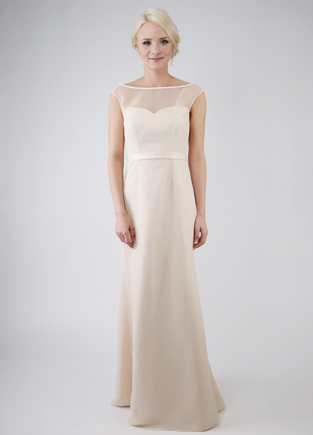 Chiffon gown with illusion bateau neckline