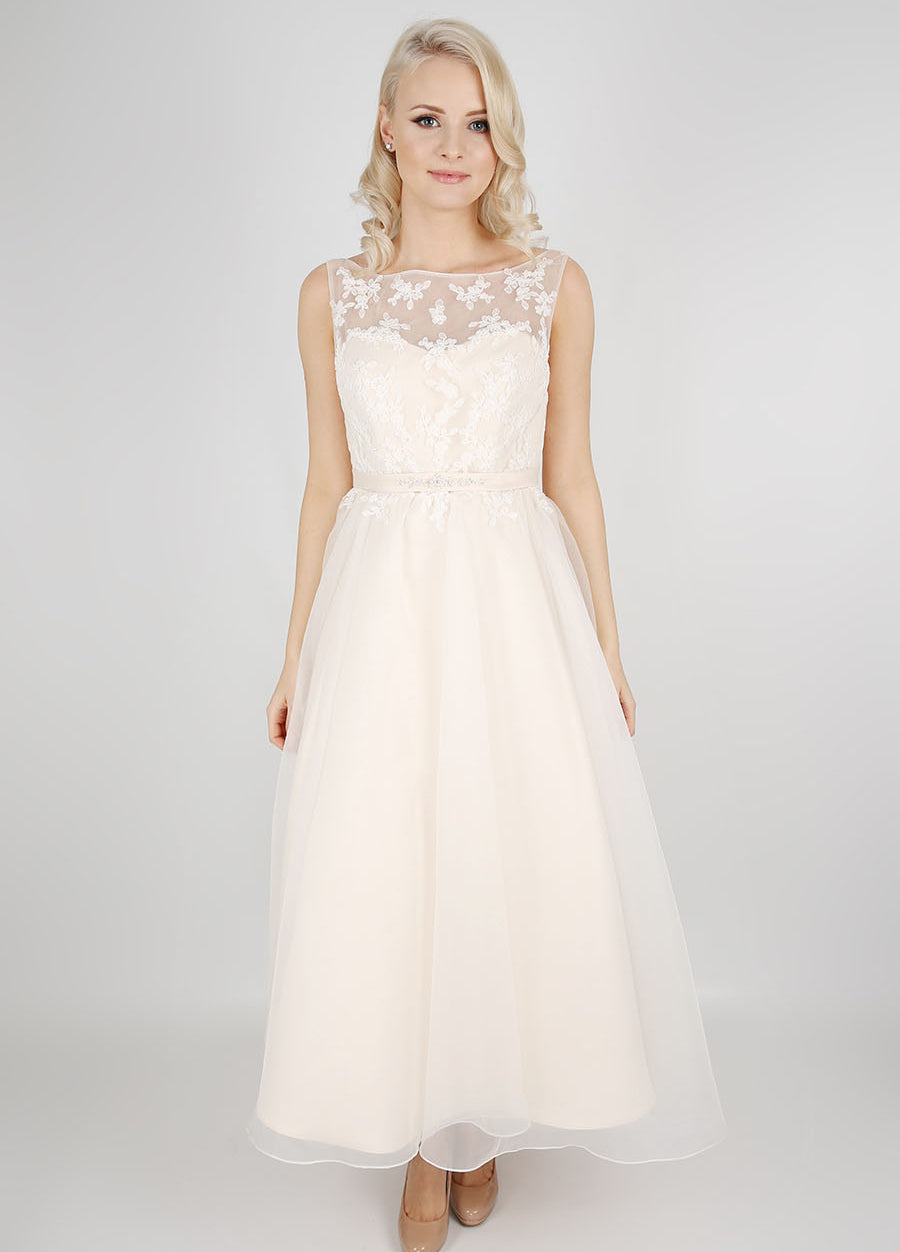 Tea-length organza bridesmaids dress